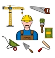 Builder and construction tools icons vector image