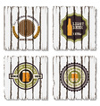 Four beer labels on old wood background vector image