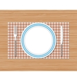 Knife fork plate red checked cloth wooden desk vector image