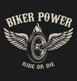 ride or die motorcycle wheel with wings vector image