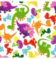 Seamless background pattern of baby dinosaurs vector image