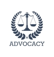 Advocacy icon justice scales laurel wreath vector image