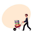 worried businessman in glasses pushing wheelbarrow vector image