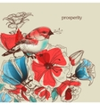 Flowers and bird greeting card prosperity vector image vector image