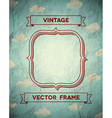 Vintage crumpled frame with clouds vector image