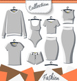 Set of grey clothes to create design on white vector image