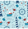 Colorful seamless sea pattern with steering wheels vector image vector image