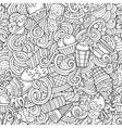 Cartoon hand-drawn ice cream doodles seamless vector image