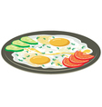 Fried eggs with vegetables vector image