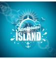 Santorini Paradise Island with typographic design vector image