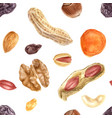 seamless pattern with nuts and dried fruits vector image