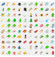 100 london icons set isometric 3d style vector image
