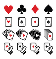 Playing cards poker gambling icons set vector image vector image