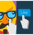 Like us Button with hipster man face vector image