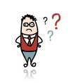 Businessman and question marks sketch for your vector image vector image