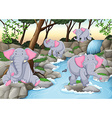Four elephants at the waterfall vector image