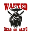 Wanted poster with dangerous mexican bandit vector image vector image