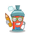 student with pencil aerosol spray can character vector image