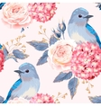 Seamless vintage flowers and birds vector image