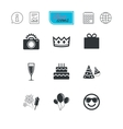 Party celebration birthday icons Fireworks vector image