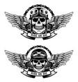 ride or die set of the skulls in racer helmets vector image
