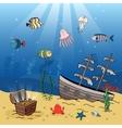Underwater scene of a sunken ship and treasure vector image