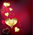 Golden Hearts on Red Background vector image vector image