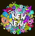 new year doodle hipster colorful background vector image