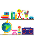 books and toys on shelves vector image