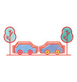 cars transportation in the same road with trees vector image