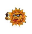 Cartoon hot sun with chocolate ice cream vector image