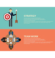 Flat style business strategy and team work concept vector image