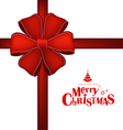 Merry Christmas postcard with red ribbon vector image