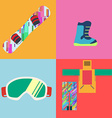 Set of Flat Style Snowboard Icons vector image