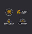 set of retro vintage honey and bee honeycomb vector image