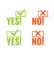 set with banners of voting yes and no in hands vector image