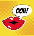sexy female lips bubble speech pop art vector image