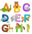 Cute cartoon animals alphabet for children vector image