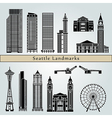 Seattle landmarks and monuments vector image