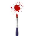 Paint brush with red color splash vector image