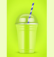 plastic cup with smoothie and tube vector image
