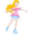 Girl on ice skates vector image vector image