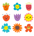 Cute happy flowers Funny flowers collection vector image