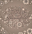 Greeting card you are so beautiful Hand drawn vector image