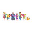 happy adults and kids holding family word letters vector image