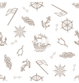 Set of nautical design elements seamless pattern vector image
