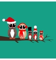 Owls family on the branch vector image