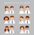 Bride And Groom Portrait In Wedding Clothing Set vector image