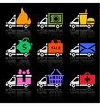 Delivery truck colored icons on a black background vector image