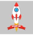 Rocket ship in a flat style vector image
